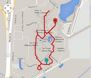 Hollywood Studios 1.39 Miles / 2.23 Kilometers