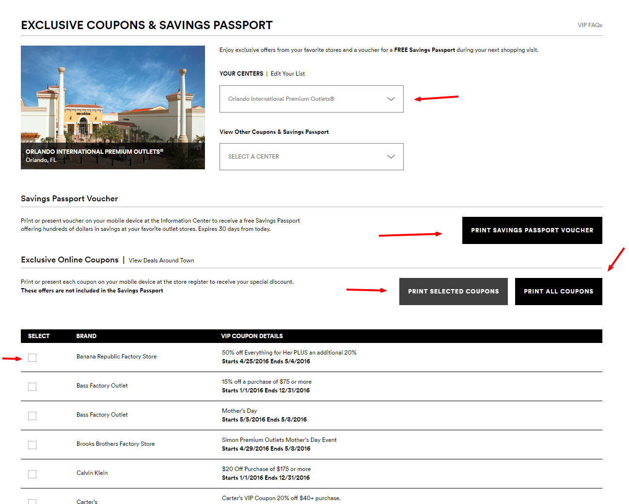 Explore Exclusive Coupons Savings Passport – Premium Outlets